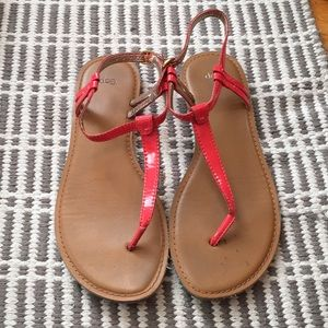 Coral thong sandals